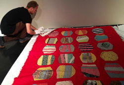 Preparing a quilt for hanging