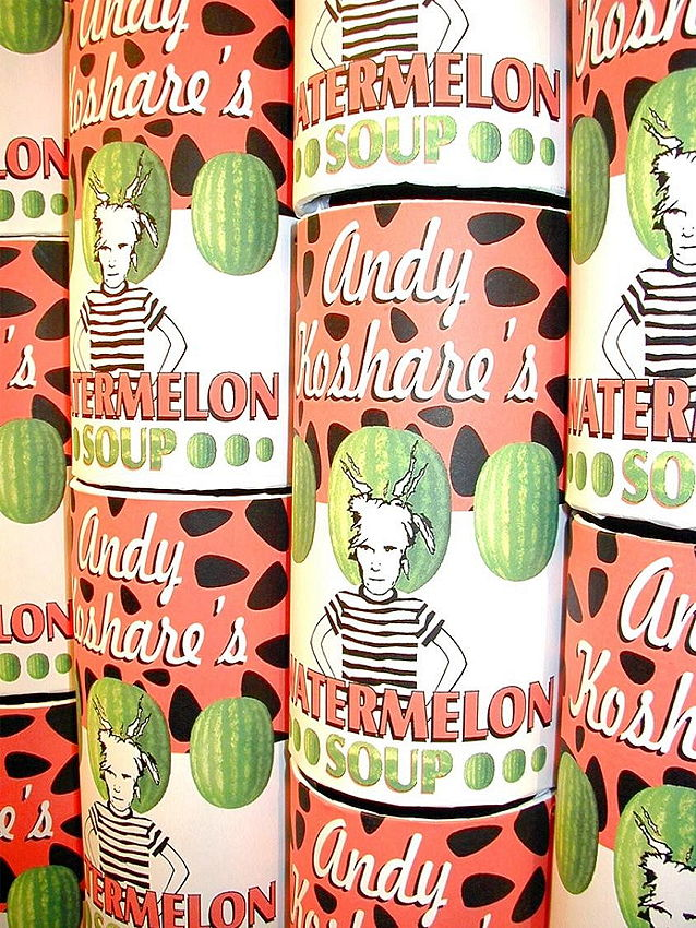 Detail of 98 Koshare Watermelon Soup Cans by John Lefelhocz