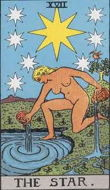 The Star from the Rider Waite Tarot card deck