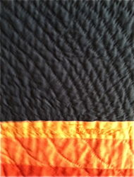 Florescent Rag by Michael James, detail of hand quilting and signature